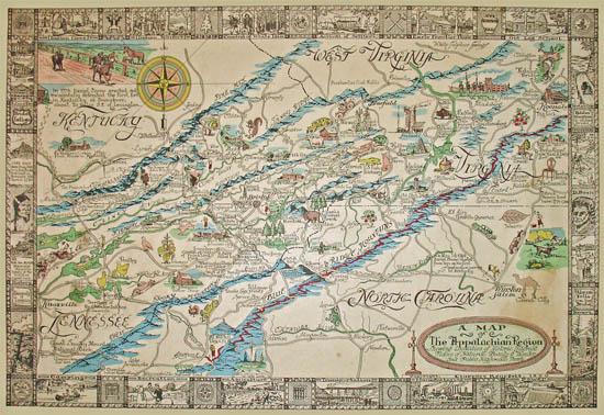 George Glazer Gallery Antique Maps A Map Of The Appalachian - Appalachia map