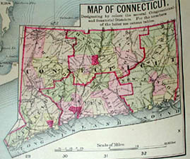 George Glazer Gallery - Antique Maps - Connecticut State Large Wall Map