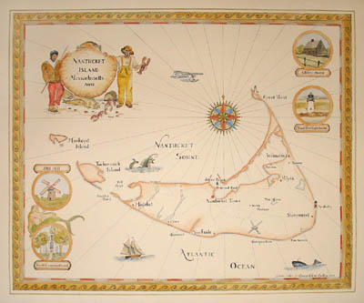 Hand-painted pictorial map of Nantucket