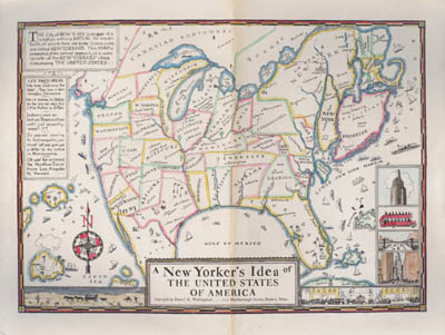 New Yorkers Map Of The World.George Glazer Gallery Antique Maps A New Yorker S Idea Of The