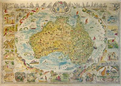 George Glazer Gallery Antique Maps Spilhaus Australia Pictorial Map - Antique maps for sale australia