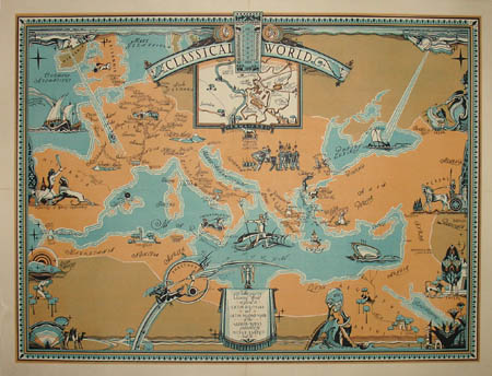George glazer gallery antique maps the classical world art classical world pictorial map gumiabroncs Gallery