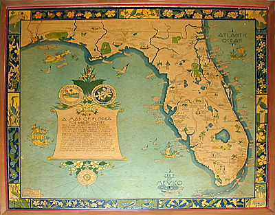 Antique Map Of Florida.George Glazer Gallery Antique Maps A Map Of Florida For Garden