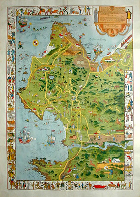 George Glazer Gallery Antique Maps Jo Mora Monterey Map