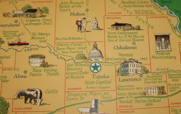 Bill Of Sale Kansas >> George Glazer Gallery - Antique Maps - Art Deco Pictorial Map of Kansas
