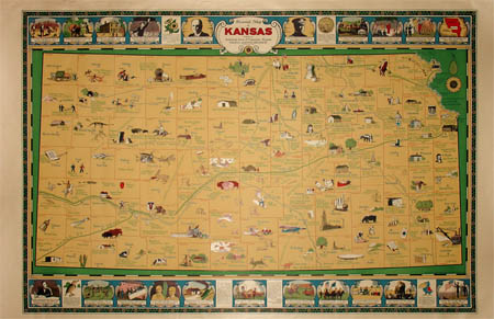George Glazer Gallery Antique Maps Art Deco Pictorial Map Of Kansas
