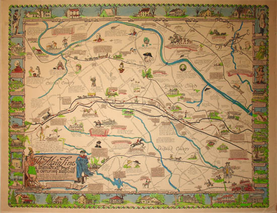 George Glazer Gallery Antique Maps The Main Line A Historical - Historic philadelphia map