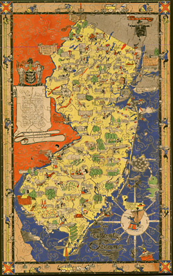 George Glazer Gallery Antique Maps New Jersey Puzzle Map - Antique map box