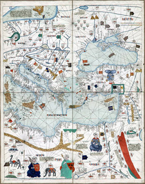 George glazer gallery antique world maps the catalan atlas map map of europe north africa and the near gumiabroncs Images