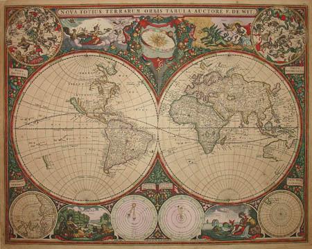 George glazer gallery antique maps nova totius terrarum orbis de wit map of the world gumiabroncs Gallery