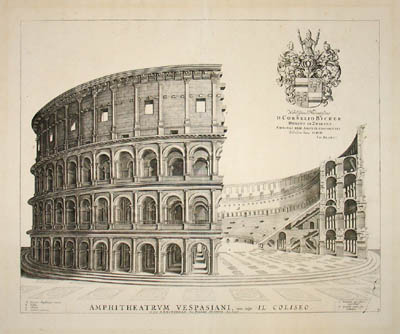 George glazer gallery antique prints the coliseum for Printing architectural drawings