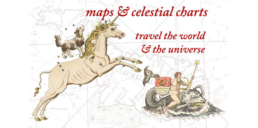 Travel the world and the universe with antique maps