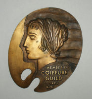 Relief Plaque, New York City Art Deco Hair Style Bronze Sign
