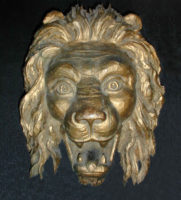 Sculpture, Carved Giltwood Lion Head