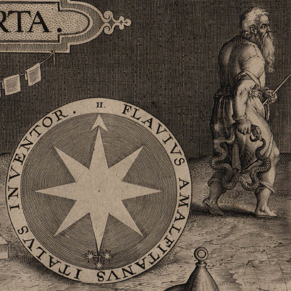Detail of New World map and allegorical figure of modernity.