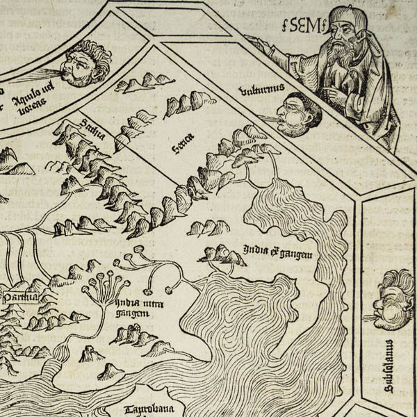 Detail of Noah's son Shem, windheads and a portion of the map