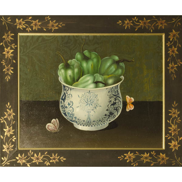 Still life painting of green peppers