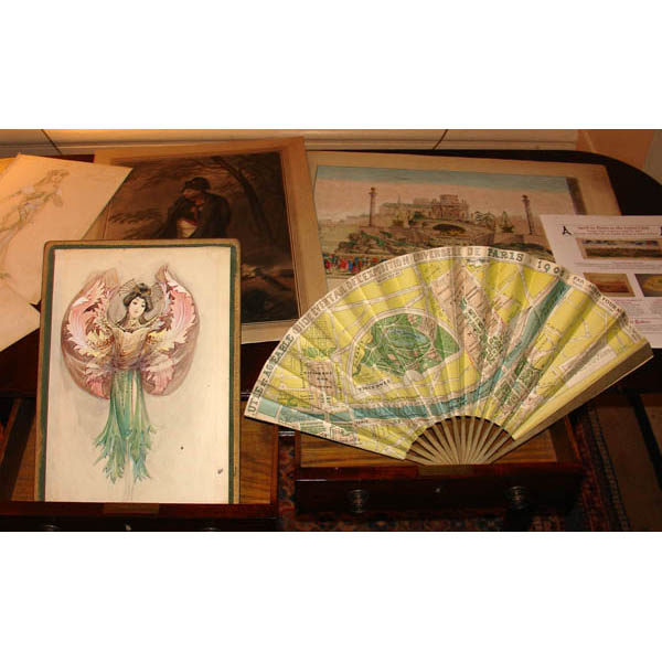 Costume design by Noury and a fan-shaped map of the Paris world's fair