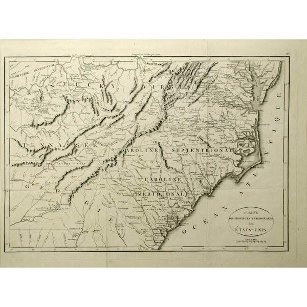 Carte Des Provinces Meridionales des Etats-Unis [Map of the Southern United States]