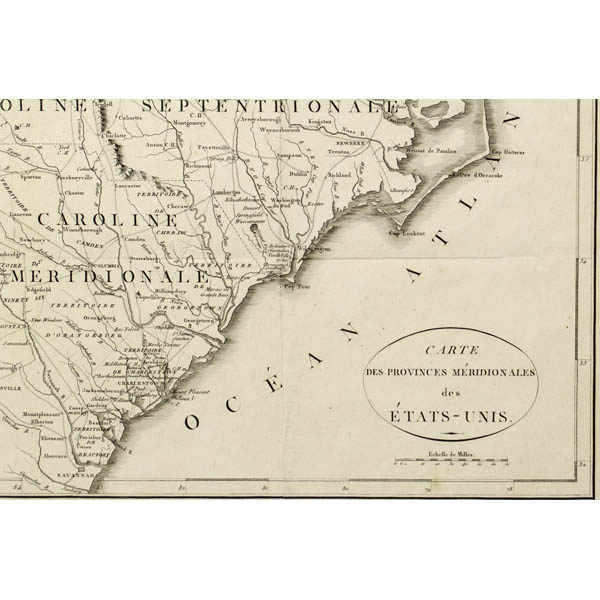 Detail of the Carolinas and Atlantic coast