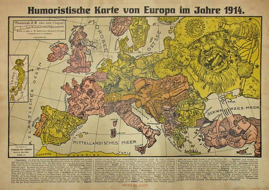 Karte Von Europa 1914.George Glazer Gallery Antique Maps Satirical World War I