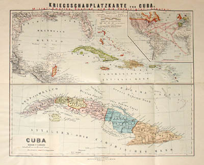 George Glazer Gallery Antique Maps Spanish American War Map Of - Cuba provinces map