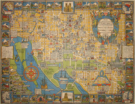 George Glazer Gallery Antique Maps Art Deco Pictorial Map of
