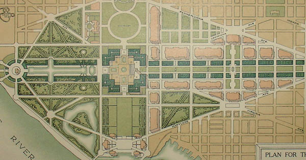 George Glazer Gallery Antique Maps Plan For The Mall At Washington D C 1902