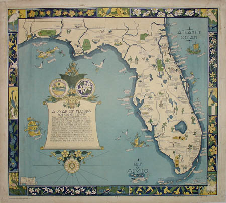 George Glazer Gallery Antique Maps A Map Of Florida For Garden - A map of florida