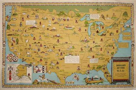 George Glazer Gallery Antique Maps Pictorial Map Of Native - Map of native american reservations in the us