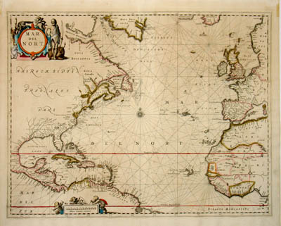 George Glazer Gallery  Antique Maps  Map of North Atlantic