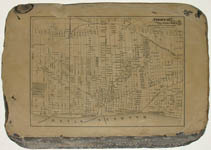 Map of Detroit drawn in reverse on a lithograph stone.