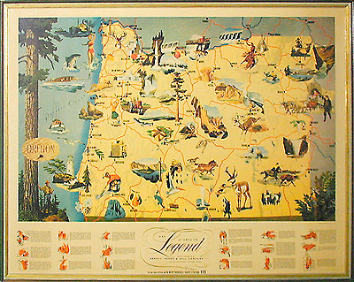 George Glazer Gallery Antique Maps Huge Pictorial Historical - Oregon map