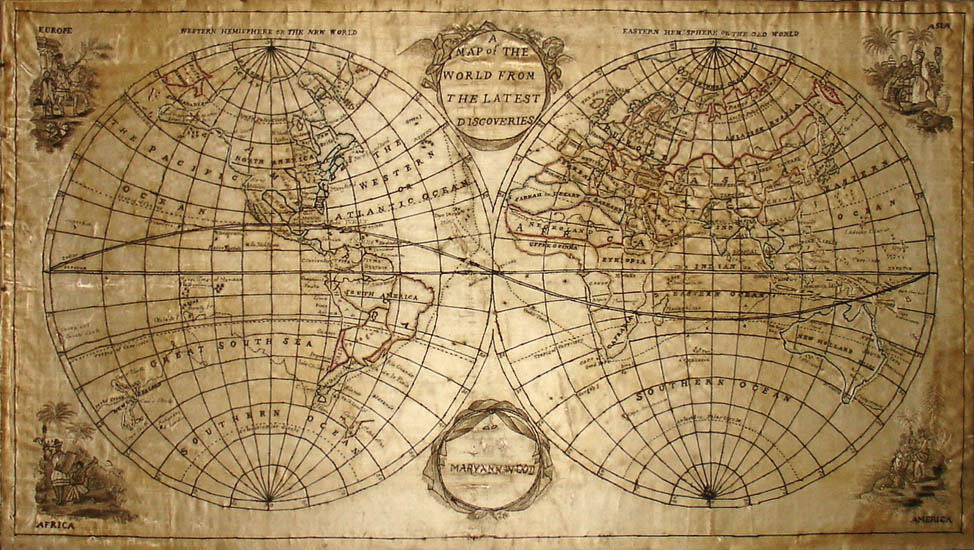 George glazer gallery antique maps a map of the world from the silk embroidered double hemisphere world map gumiabroncs Choice Image