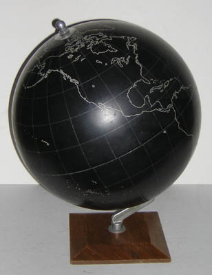 43020d147fb35f 12-Inch Slate Terrestrial Globe British or Continental  c. 1940s-1960s 15.5  inches high  6.5 x 6.5 inch base. Sold