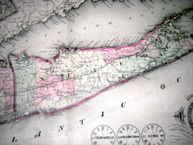 Topographical Map, Long Island and Lower New York State Counties