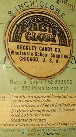 Beckley Cardy Co./ G.W. Bacon & Co. Ltd., 8-Inch Table Globe, detail