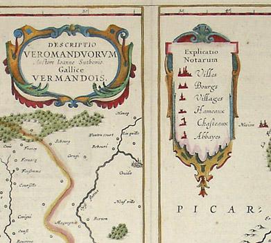 Descriptio Veromanduorum Auctore Ioanne Suthonio. Gallice Vermandois./ Gouvernement de la Cappelle par P. petit Bourbon., detail