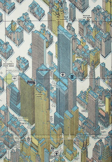 Map Of New York Rockefeller Center.Map New York City Pictorial Hermann Bollmann Vintage Print 1962