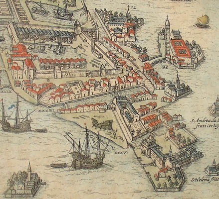 Detail of map, with detailed renditions of ships.