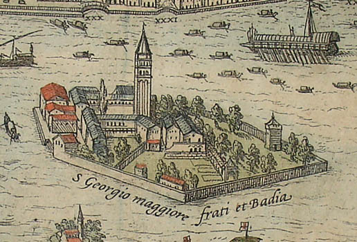 One of the many islands depicted is the Island of San Giorgio Maggiore with its church and monastery, which had recently been rebuilt according to a design by Palladio.