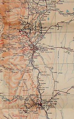 Detail of Denver and Colorado Springs