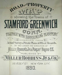 Road and Property Map showing the Towns of Stamford and Greenwich Conn. Together with Surrounding Territory, Map 1, cartouche