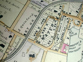 Road and Property Map showing the Towns of Stamford and Greenwich Conn. Together with Surrounding Territory, Map 1, detail