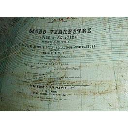 Guido Cora and G.B Paravia Globo Terrestre Fisico & Politico, detail