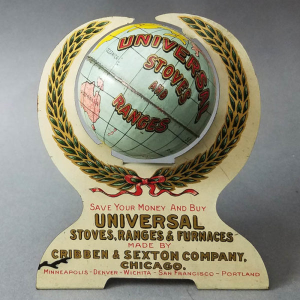 Universal Stoves and Ranges 2-Inch Tin Bank Advertising Globe by Cribben and Sexton
