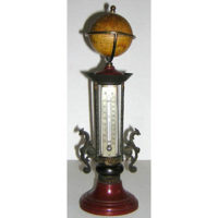 J. Felkl 2.75-Inch Terrestrial Globe on Pillar Thermometer Stand