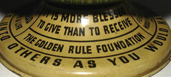 The Golden Rule Foundation 4-Inch Tin Terrestrial Bank Globe, detail