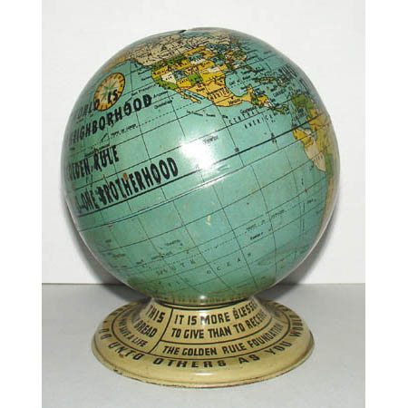 The Golden Rule Foundation 4-Inch Tin Terrestrial Bank Globe