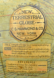 "C.S. Hammond & Co., New York ""New Terrestrial Globe"" 8-Inch Terrestrial Table Globe, detail"